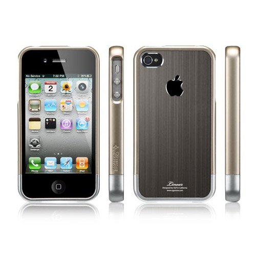 SPIGEN SGP アイフォン 4 / 4S ケース Linear Blitz  ガンメタル 液晶保護シートセット for Apple iPhone 4 / 4S SGP08338