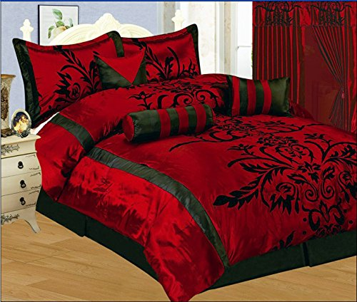 7 Pc Luxury Burgundy/Red/Black Flocking Faux Silk - Full / Queen Size Duvet Set front-925540