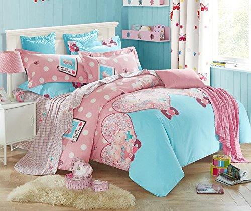 Andreannie ®Full Size 3d Bedding Sets Cute Cartoon Pink Mini Pig Sweetheart Love Heart Polka Dots Design Soft Sanding Brushed Cotton Material 4pc Duvet Cover Sets For Lover Gift Without Comforter