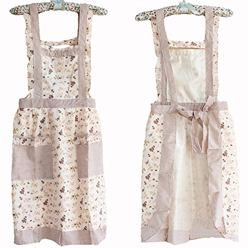 Hot Stylish Flower Pattern Women'S Fashion Floral Cotton Chef Cooking Cook Apron Bib With Pockets 9# Hyzrz