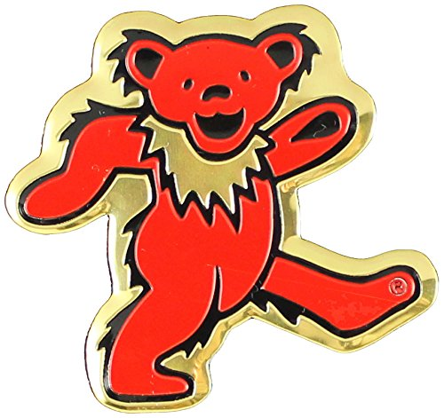 Grateful Dead Bear Metal Sticker, Gold, 5cm - 1