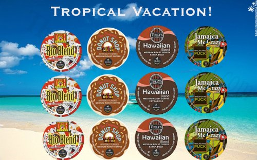 12 K-cup Tropical Vacation Coconut Coffee K-cup sampler! Island Coconut...Donut Shop... by The Coffee Mix
