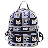 FEOYA Women's Canvas Backpack School Bag Fashion Book Bags Backpacks for Girls,Teens and Kids Cat Purple