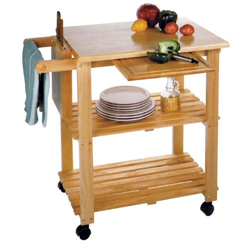 Kitchen Cart With Cutting Board, Knife Block And Shelves