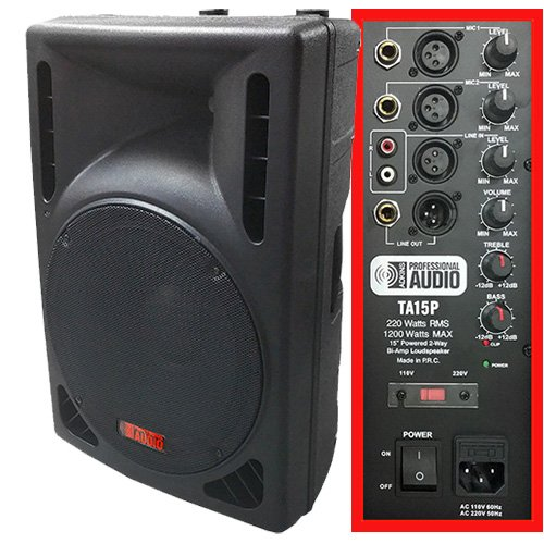 Best Price 1200 Watt Powered DJ Speaker - 15-inch - Bi-Amp 2-Way Active Speaker System by Adkins Pro...
