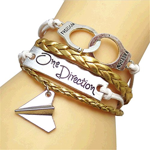 JQUEEN Carved One Direction Silver Plated Paper Airplane Freedom Handcuffs Infinity Leather Bracelet,Gold (Bracelets One Direction compare prices)
