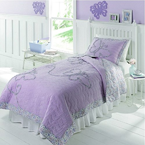 FADFAY Home Textile,Purple Butterfly Bedding Set Twin/Full,Cute Girls Kids Patchwork Quilt Set
