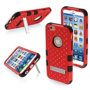 MYBAT Natural TUFF Hybrid Phone Protector Cover with Diamonds and Kickstand for iPhone 6 - Retail Packaging - Red/Black