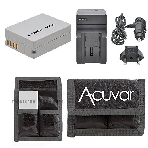NB-10L Li-Ion Battery + Car / Home Charger for Canon PowerShot SX50 HS, SX40 HS, G15, G16, G1X, SX50 HS, SX50HS, SX40, SX40 HS, SX40HS, G1X, SX60 and Other Models + Acuvar Battery Pouch (Sx 50 compare prices)