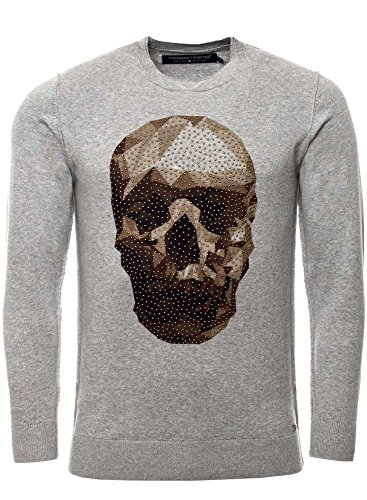 Freeman T, Porter felpa da uomo Groove Skull Grigio (Light Grey Melange) Medium