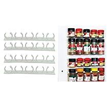 Denshine KitchenAid Organizer Rack Cabinet Door Spice Clips 4 Strips x 5 Clips per Strip