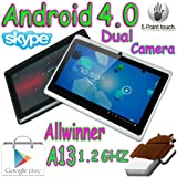 """Dual Camera 7"""" inch A13 Allwinner 1Ghz CPU 512 MB RAM Android Tablet PC (Black)"""