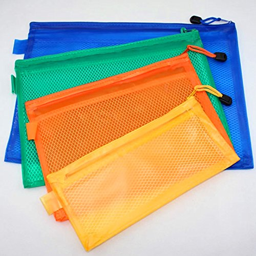 DCDEAL 10pcs A4 Size Waterproof Double Layer Zippered Mesh F