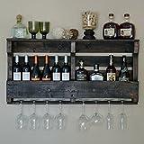 VinoGrotto Large Pallet Wall-Mounted Wine Rack (Espresso Walnut Finish), Espresso Walnut