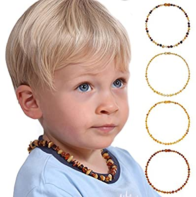 Baltic Amber Teething Necklace - Genuine Amber Necklaces for Baby - Natural Teether Relief for Boys and Girls - Lemon, Honey, Cognac and Multicoloured - Hand Knotted Beads with Safety Clasp -100% Satisfaction Guaranteed! Delivered and Fulfilled through Am
