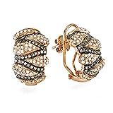 1.00 Carat (ctw) 14k Pink Rose Gold Round Diamond Ladies Hoop Earrings