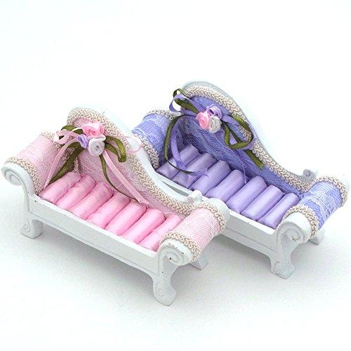 【福美康】 かわいい ソファー 型 リング ホルダー ケース ジュエリー スタンド 指輪 収納 ディスプレイ おもしろ インテリア パープル ピンク (パープル)