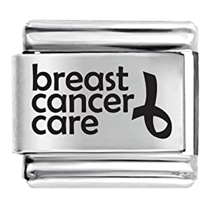 Pugster Breast Cancer Care Inverted Ribbon Laser Italian Charm