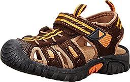 Jumping Jacks Sand Cruiser Dress Sandal (Toddler/Little Kid), Brown Microsuede/Brown/Orange Trim, 26 EU (8.5-9 M US Toddler)