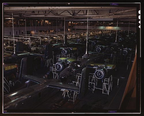 Photo View of the B-25 final assembly line at North American Aviation's Inglewood, California, plant 1939