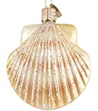 Old World Christmas - Clam Shell Ornament - Hand Painted Blown Glass - For Fake and Real Trees