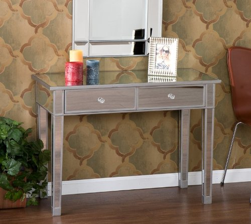 Image of Console Sofa Table with Faux Crystal Knobs in Mirrored Finish (01-172-016-5-21)