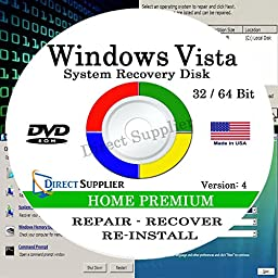 WINDOWS VISTA - 32 Bit & 64 Bit DVD SP1, Supports HOME PREMIUM edition. Recover, Repair, Restore or Re-install Windows to Factory Fresh!