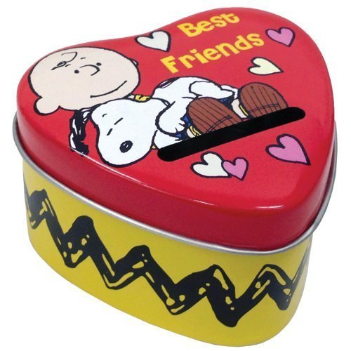 1.75 Inch Snoopy and Charlie Brown Heart Shaped Tin Money Bank - 1