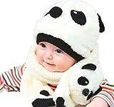 (ユッカル)YUCCALU パンダ 帽子 & マフラー & オリジナルキーホルダー 選べる3色 ベビー キッズ 赤ちゃん こども 防寒 かわいい もこもこフワフワ (Pink)