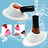 Coco 2Pcs White Soft Rubber Nail Polish Bottle Holder Nail Art Manicure Tools