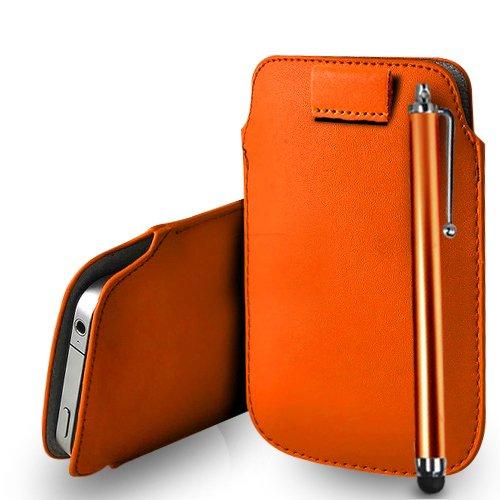 Huawei Ascend G620s Orange Leder Pull Tab Tasche Tasche + Stylus Pen & Poliertuch