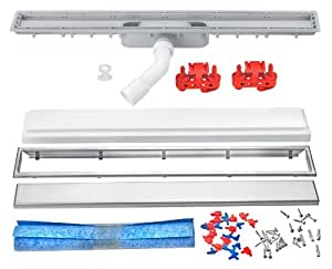 Cornat DR75050 Set complet de caniveau de douche extra plat, 750 x 50 mm