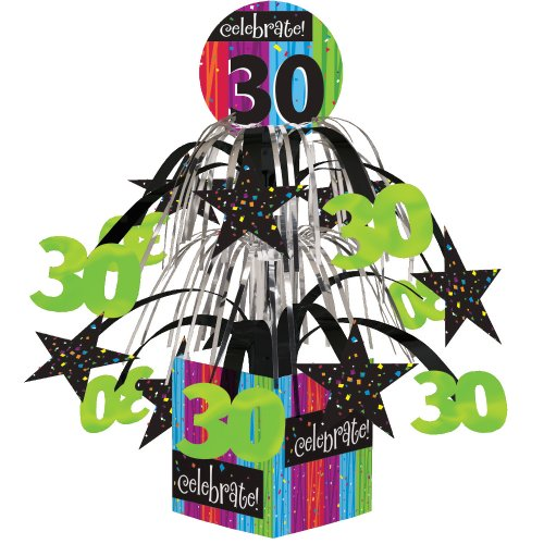 Creative Converting Party Decoration Metallic Foil Cascading Centerpiece, Milestone Celebrations 30th
