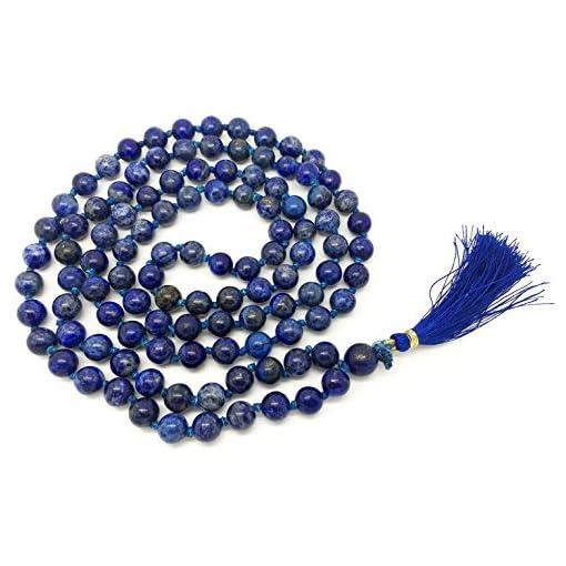 Lapislazuli-Japa-Mala-108-Perlen-jeweils-8-mm-breit-mit-Knoten-dazwischen-plus-1-grer-Guru-Perle-43-cm-in-der-Lnge-mit-echten-Edelsteinen-fr-den-Einsatz-in-der-Meditation-oder-als-Halskette