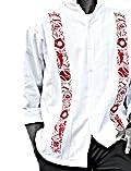 Y.A.Bera Men's Long Sleeve Mandarin Collar w/ World Series Artwork - White
