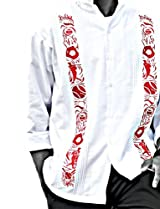 Y.A.Bera Men's Long Sleeve Mandarin Collar w/ World Series Artwork - White