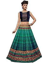 Aryan Fashion Designer Multi Colour Bhagalpuri Print Embroidery Work Semi-Stitched Lehenga Choli