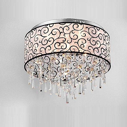 "16"" Modern Crystals Fabric Living Room Ceiling Light Stainless steel Top Semitransparent Black Cloud Pattern Lampshade Bedroom Chandeliers Elegant Dining room Ceiling Lamp"