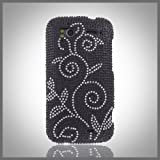 Cristalina Silver Swirl Vine on Black bling rhinestone case cover HTC Sensation 4G G14