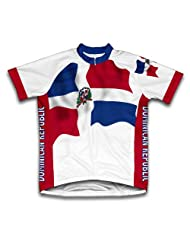 Dominican Republic Flag Short Sleeve Cycling Jersey for Women