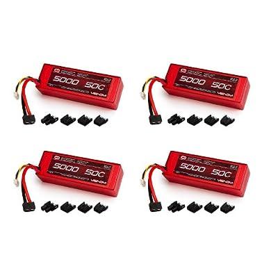 Venom 50C 3S 5000mAh 11.1 LiPO Hardcase Battery with Universal Plug (4-Pack)