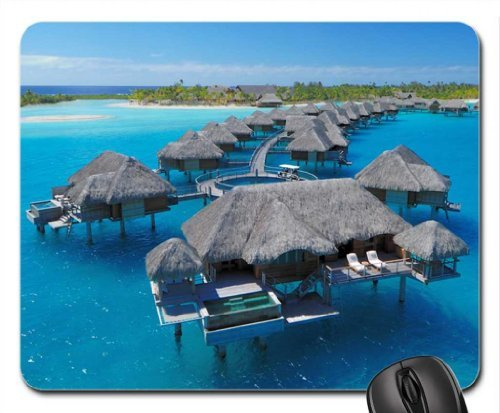 Four Seasons Resort Bora Bora Water Villas Mouse Pad, Mousepad (Beaches Mouse Pad)