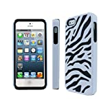 Leegoal(TM) Black/White Stylish Zebra Combo PC and Silicone Hybrid Case Cover Fit for the iPhone 5 5S With Accessories Sreen Protector,Anti Dust Plug