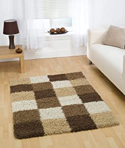 "Large Quality Shaggy Rug in Brown Beige 160 x 230 cm (5'3"" x 7'7"") Carpet by Lord of Rugs"