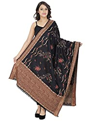 Indo Essence (Women's_ Designer Embroidered Black Shawl)