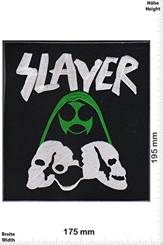 "Patch - Slayer -Skull - 19 cm - Bigpatch - Musica - - Slayer- Iron on Patch - toppa - applicazione - Ricamato termo-adesivo"""