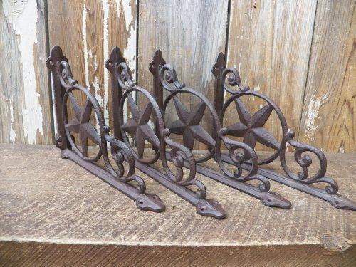 "Lot/Set 4 Antique-Style Cast Iron Star 6 1/4"" X 8 1/2"" Shelf Brackets Hangers front-1027548"