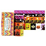 Wise Bird Halloween Washi Tape, Decorative Masking Tape Sticky Paper Adhesive DIY Tape for Halloween Gift Wrap, Halloween Decoration, Art and Craft Paper Roll, 30ft/roll, Set of 5