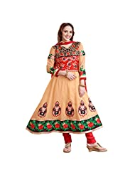 Shreevas Beige & Red Faux Georgett Anarkali Suit Material With Embroidery Work | STL102