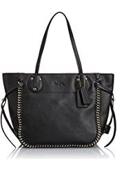 COACH Whiplash Leather Tatum Tote in Light Gold / Black 34398